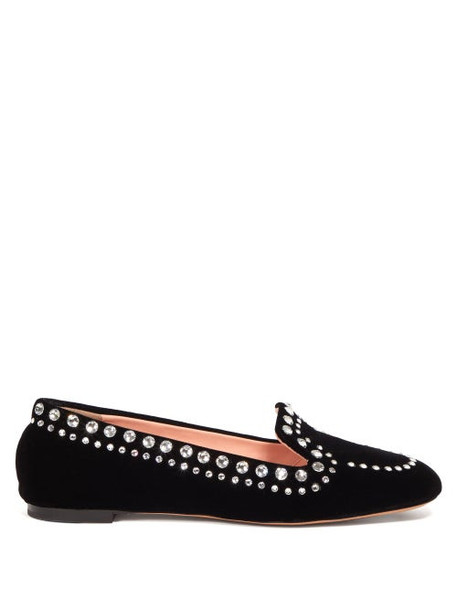 Rochas - Crystal Embellished Velvet Loafers - Womens - Black
