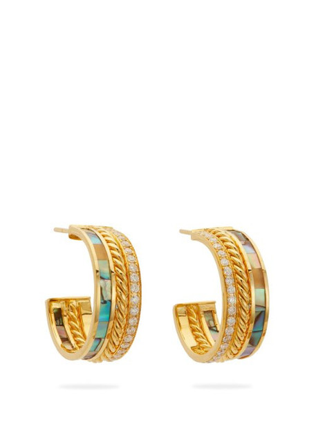 Patcharavipa - 18kt Gold, Mother Of Pearl & Diamond Pavé Earrings - Womens - Gold