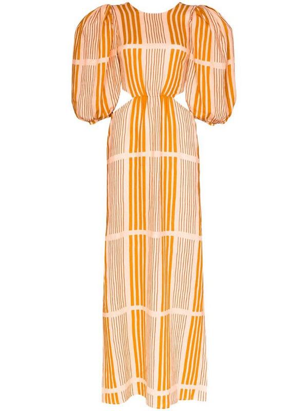Johanna Ortiz Whispered Sunset cutout striped linen maxi dress in pink