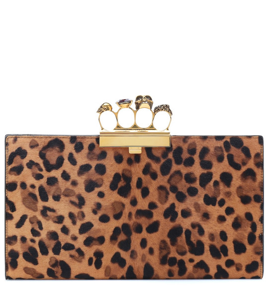 Alexander McQueen Four-Ring leopard-print calf hair clutch in brown