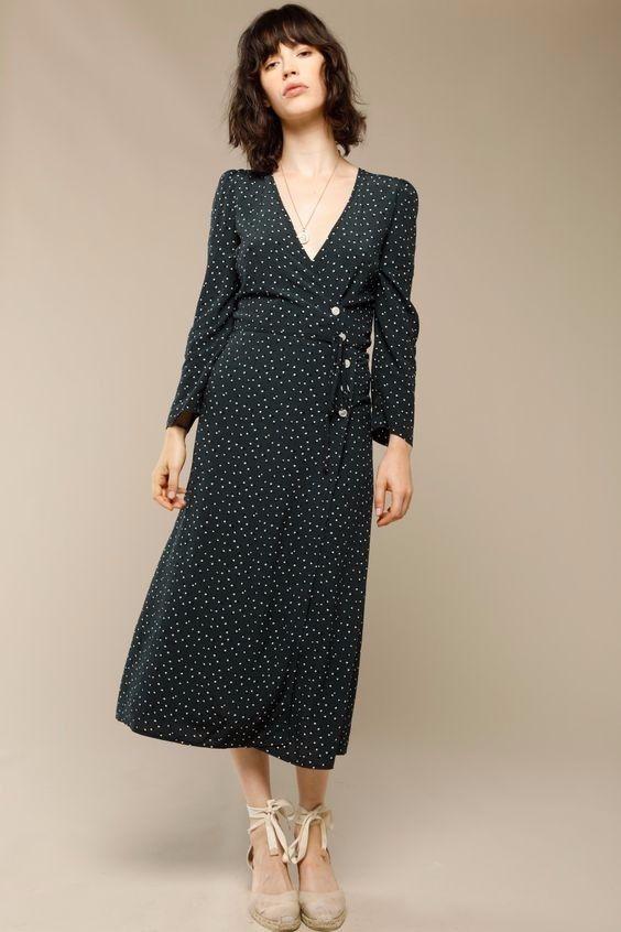 NEW NWT Rouje Gabin Dress SOLD OUT Jeanne Damas Polka Dot Midi Dress 36 S 2 4