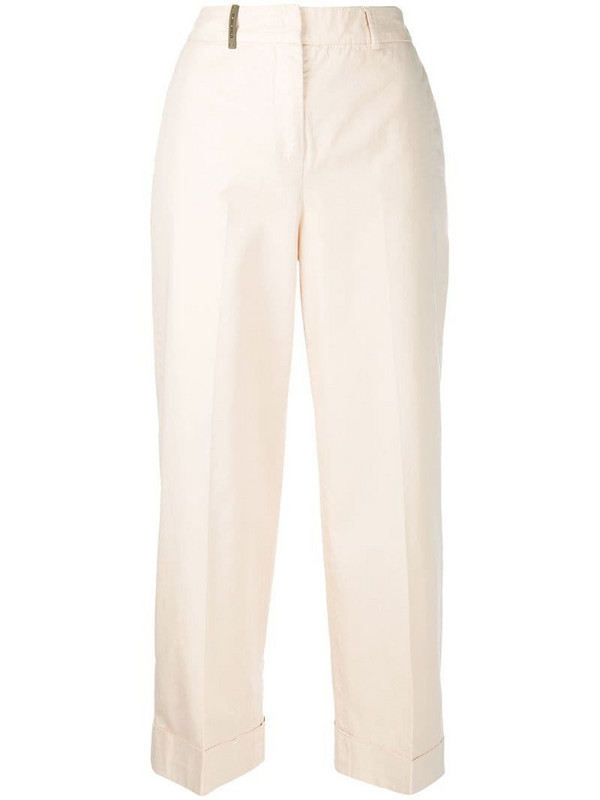 Peserico high-waisted straight-leg trousers in neutrals