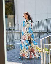 dress,maxi dress,shirt dress,long sleeve dress,floral dress,sandal heels,handbag,black bag