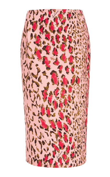 Carolina Herrera High-Waisted Leopard-Print Cotton-Blend Pencil Skirt in pink