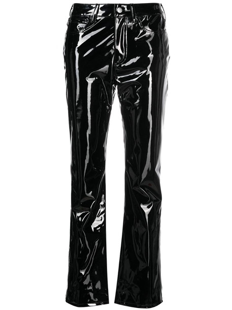 Simon Miller vegan patent leather straight-leg trousers in black