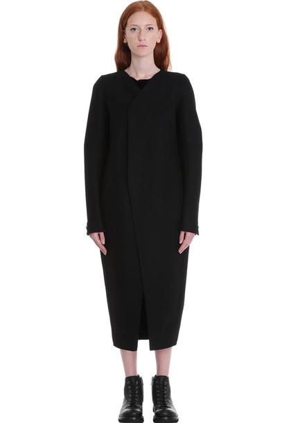 Rick Owens V Neck Tusk Coa Coat In Black Wool