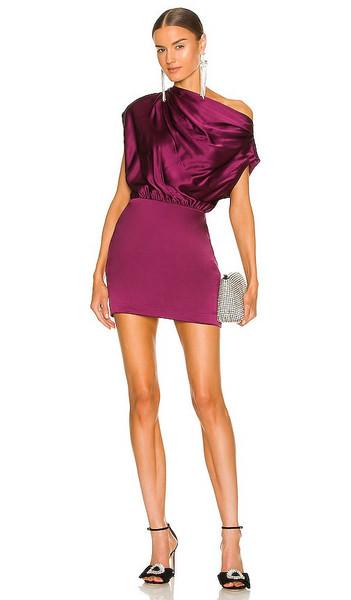 The Sei X REVOLVE Asymmetrical Draped Mini Dress in Wine in plum