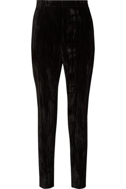 Saint Laurent - Crushed-velvet Slim-leg Pants - Black