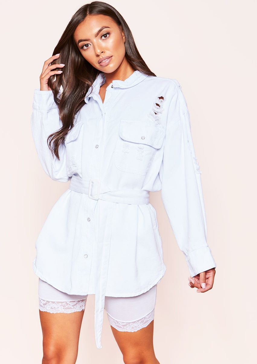 Willow White Denim Distressed Belted Shirt