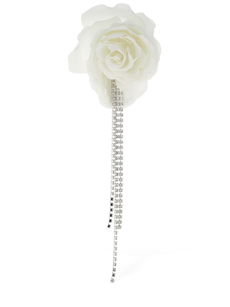 MAGDA BUTRYM Chandelier Peony & Crystals Mono Earring in white