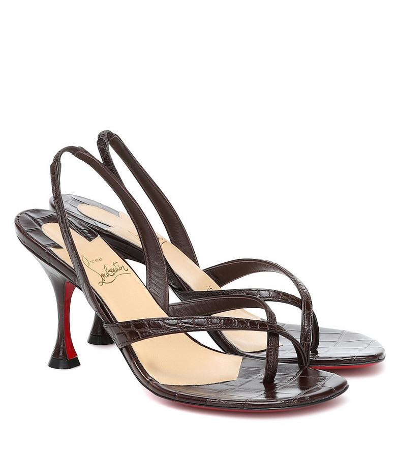 Christian Louboutin Taralite 85 leather sandals in brown