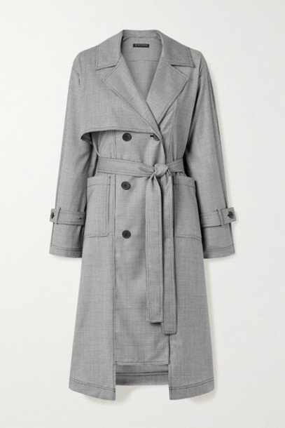 The R Collective - Net Sustain Dalston Belted Houndstooth Wool Trench Coat - Black