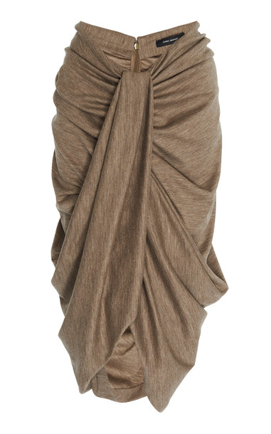 Isabel Marant Datisca High Waisted Draped Knit Skirt Size: 38 in grey
