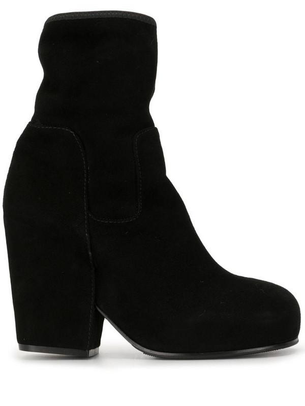 Random Identities sock-effect block heel boots in black