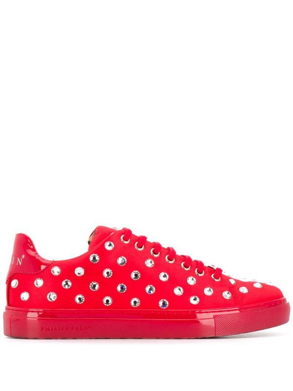 Philipp Plein crystal embellished low-top sneakers in red