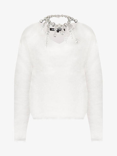 Susan Fang bead-embellished open-knit top in white