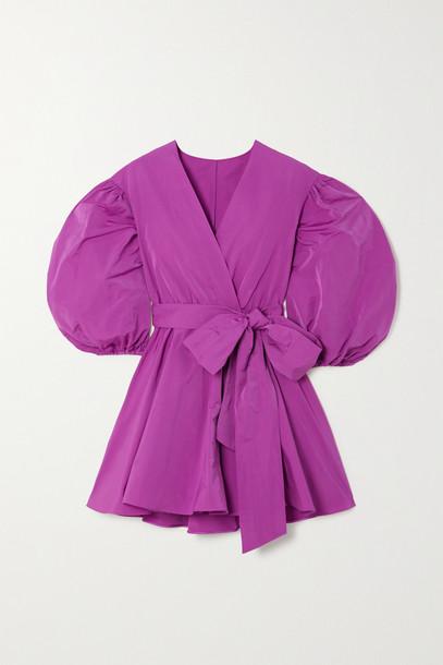 VALENTINO - Pleated Cotton-blend Faille Wrap Mini Dress - Pink