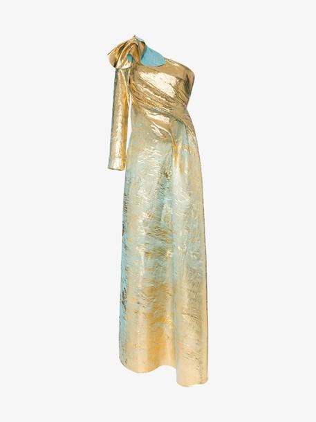 Halpern asymmetric one-sleeved draped gown in metallic