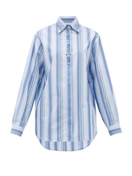 M Missoni - Logo-embroidered Striped Poplin Shirt - Womens - Blue White