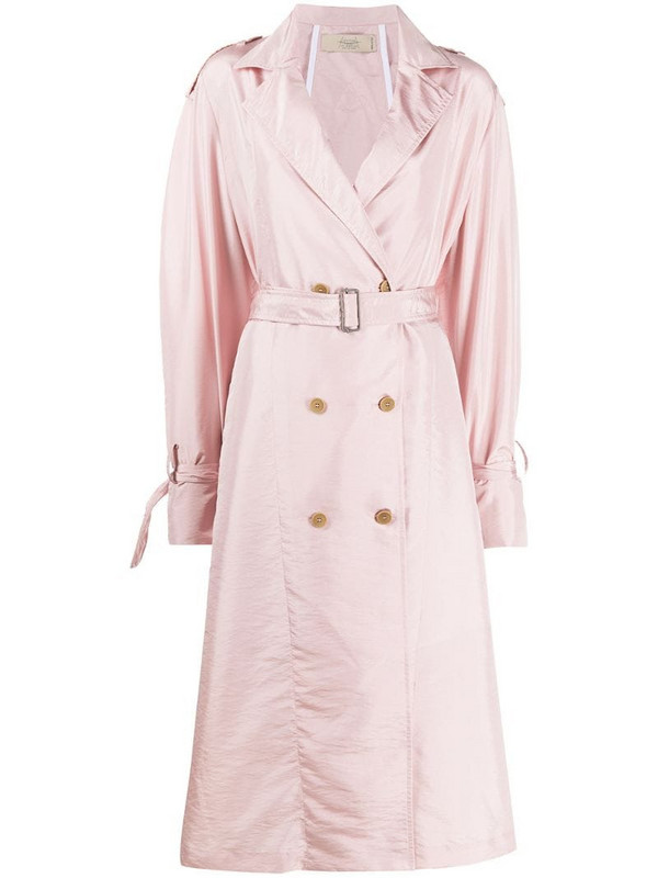 Maison Flaneur loose-fit belted trench in pink