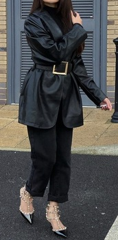 coat,leather belted jacket