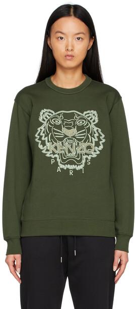 Kenzo Green Tiger Sweatshirt in khaki