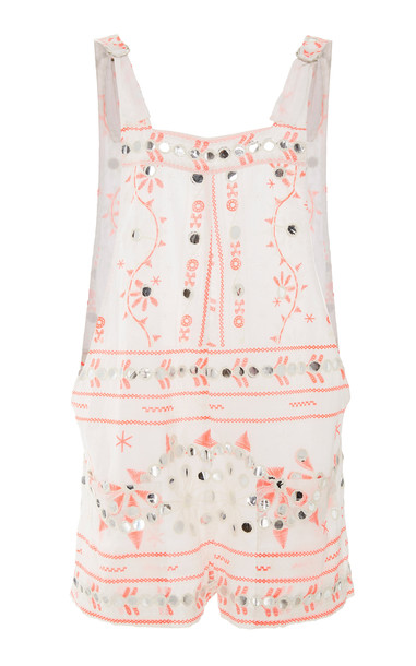 Juliet Dunn Nomad Print Embroidered Romper in white
