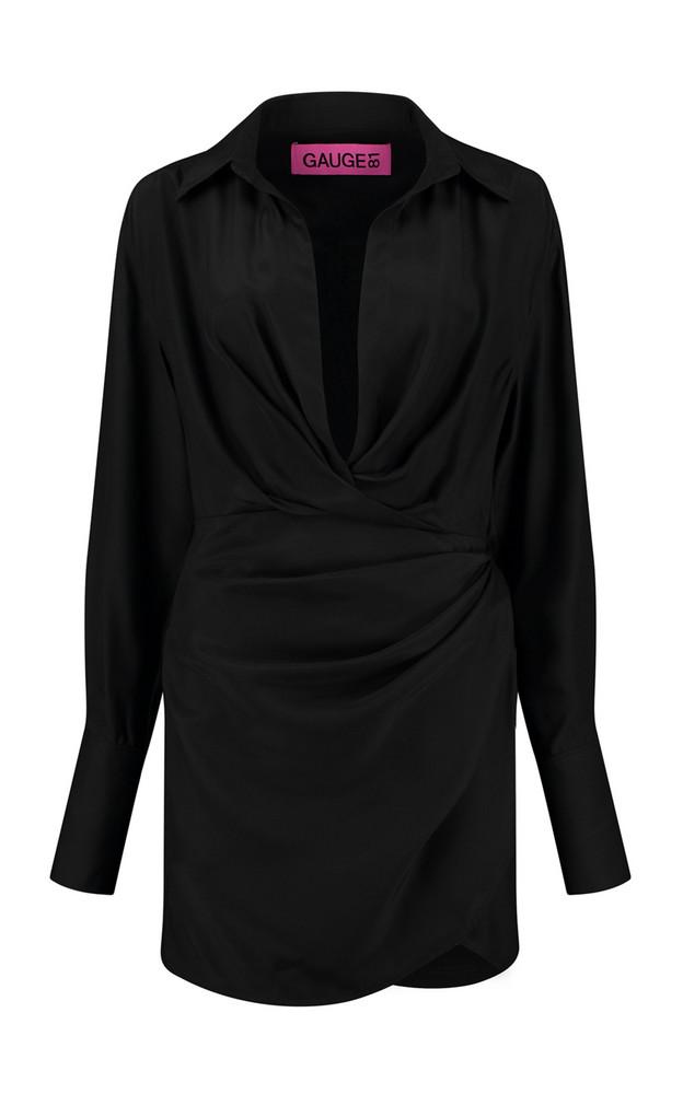 Gauge81 Naha Draped Silk Mini Shirt Dress in black