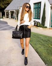 top,white shirt,black boots,ankle boots,black bag,mini skirt,black skirt