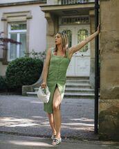 dress,midi dress,sleeveless dress,chanel,white sandals,white bag