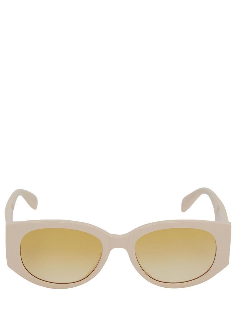 ALEXANDER MCQUEEN Round Acetate Sunglasses in white / yellow