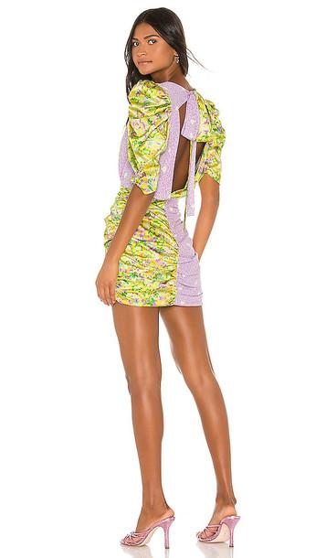 For Love & Lemons Dubois Mix Print Mini Dress in Yellow