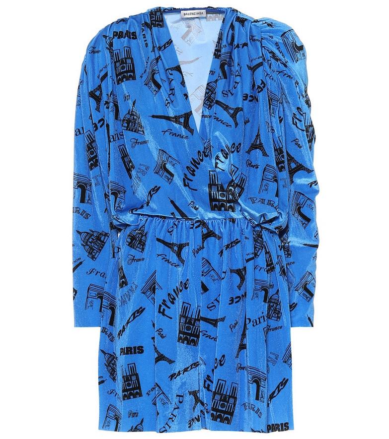 Balenciaga Printed stretch-velvet playsuit in blue