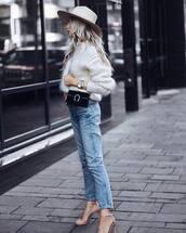 jeans,high waisted jeans,high heel sandals,crossbody bag,black bag,mohair,white sweater,felt hat