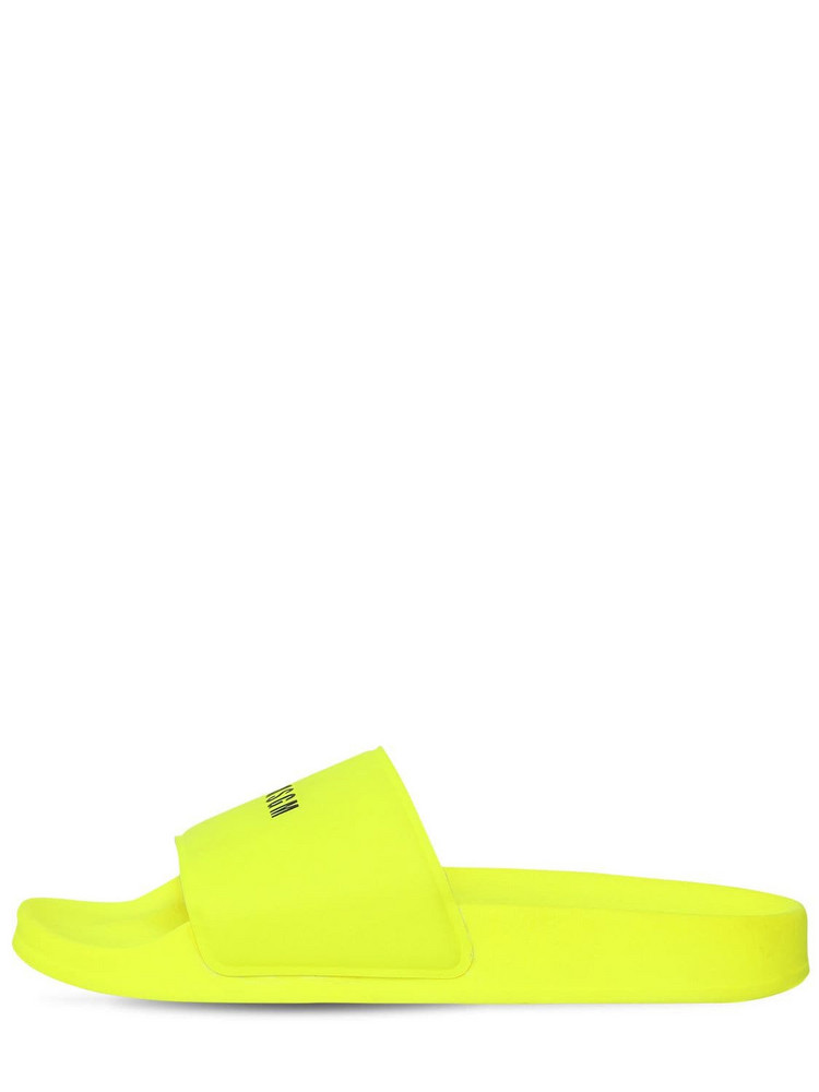 MSGM 10mm Micro Logo Rubber Slide Sandals in yellow