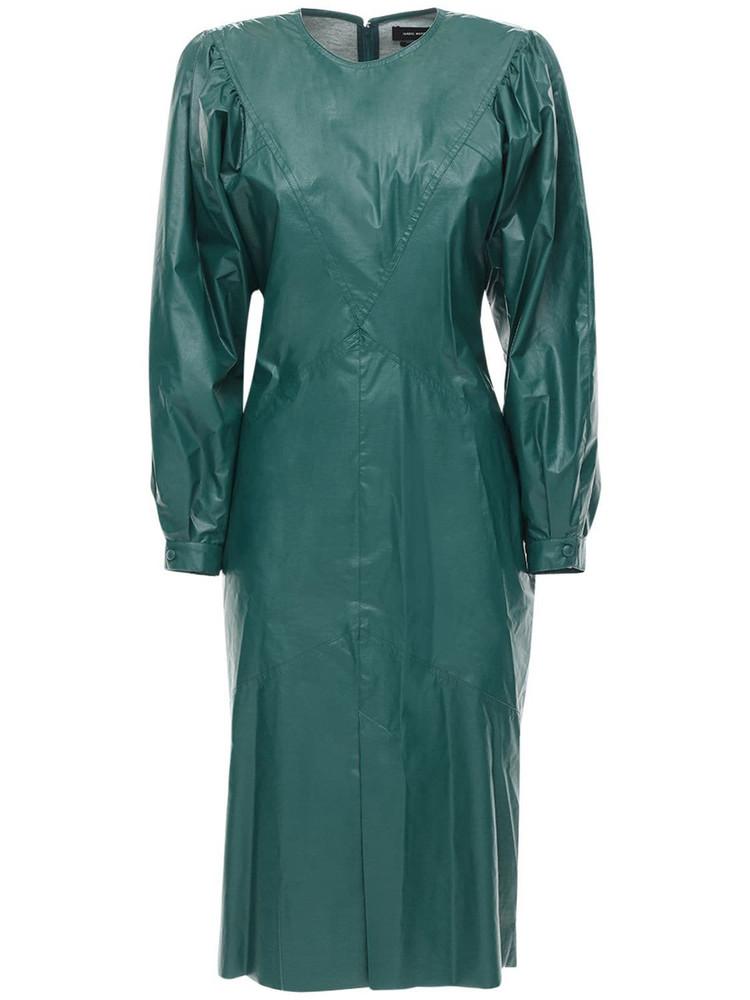 ISABEL MARANT Drea Faux Leather Midi Dress in green