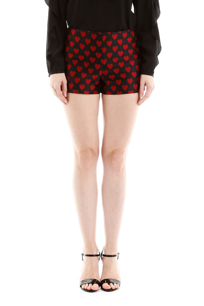 RED Valentino Jacquard Hearts Shorts in black