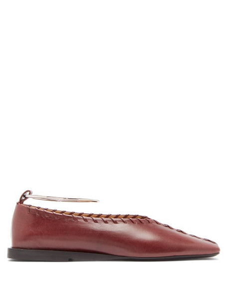 Jil Sander - Whipstitched Square-toe Leather Ballet Flats - Womens - Burgundy
