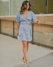 dress,mini dress,blue dress,summer dress,sandals
