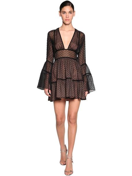 DSQUARED2 Fil Coupè Chiffon Mini Dress in black