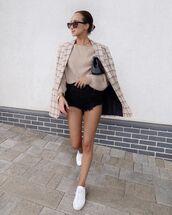 jacket,plaid blazer,white sneakers,denim shorts,oversized sweater
