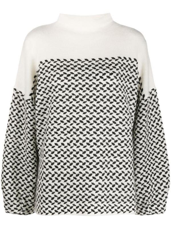 Lala Berlin leaf print cashmere jumper in white