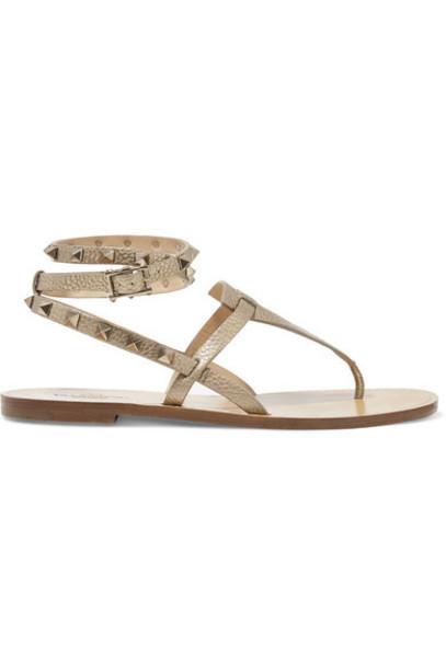 Valentino - Valentino Garavani The Rockstud Metallic Textured-leather Sandals - Gold