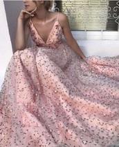 dress,stylish pink v neck tulle long dress,pink long prom dress