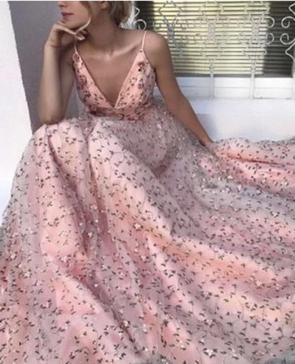 dress stylish pink v neck tulle long dress pink long prom dress
