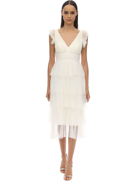 MARCHESA NOTTE Sparkly Tulle Midi Dress in white