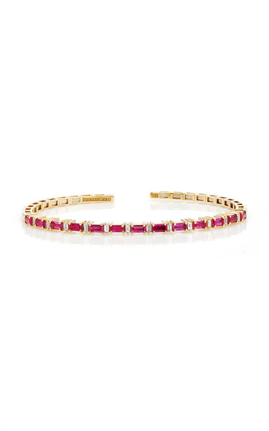 Suzanne Kalan 18K Yellow Gold Ruby Horizontal Bangle