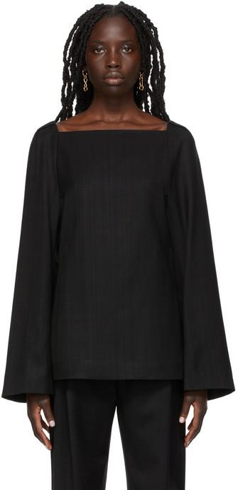 Totême Square Neck Blouse in black