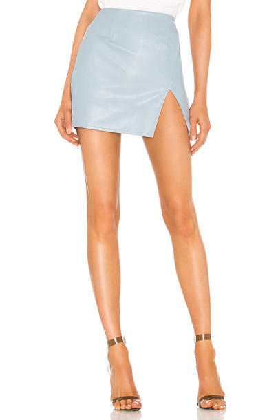 superdown Trinity Faux Leather Skirt in blue