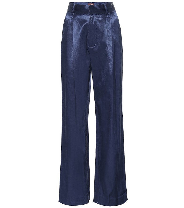 Staud Bruco cotton-blend wide-leg pants in blue
